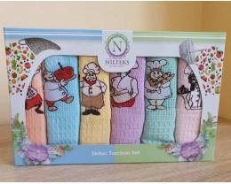 Набор полотенец кухонных Nilteks 6 штук 45х70 вафельные с вышивкой Sef V1