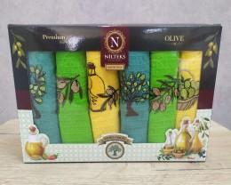 Набор полотенец кухонных Nilteks 6 штук 45х65 вафельные с вышивкой Olive 3