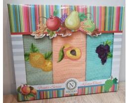 Набор полотенец кухонных 30х50 Nilteks 3 штуки вафельные с вышивкой Fruta V2