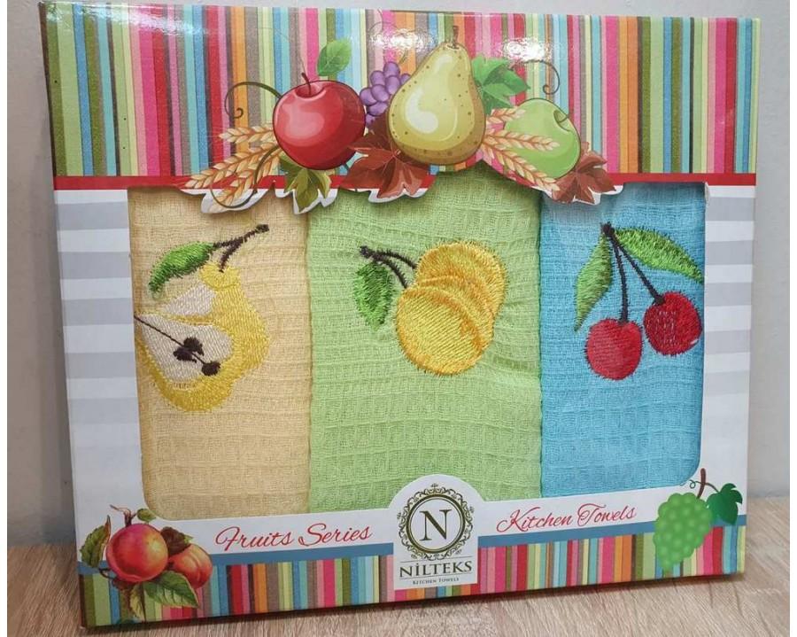 Набор полотенец кухонных 30х50 Nilteks 3 штуки вафельные с вышивкой Fruta V1
