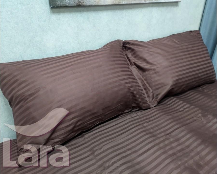 Постельное белье LARA сатин-страйп Brown d13034e евро
