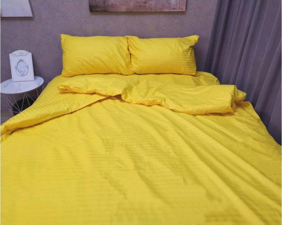 Постельное белье LARA сатин-страйп Yellow d13069d двуспальное