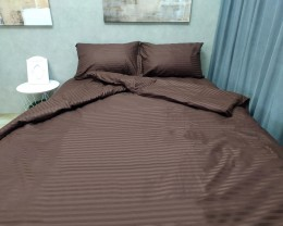 Постельное белье LARA сатин-страйп Brown d13034d двуспальное