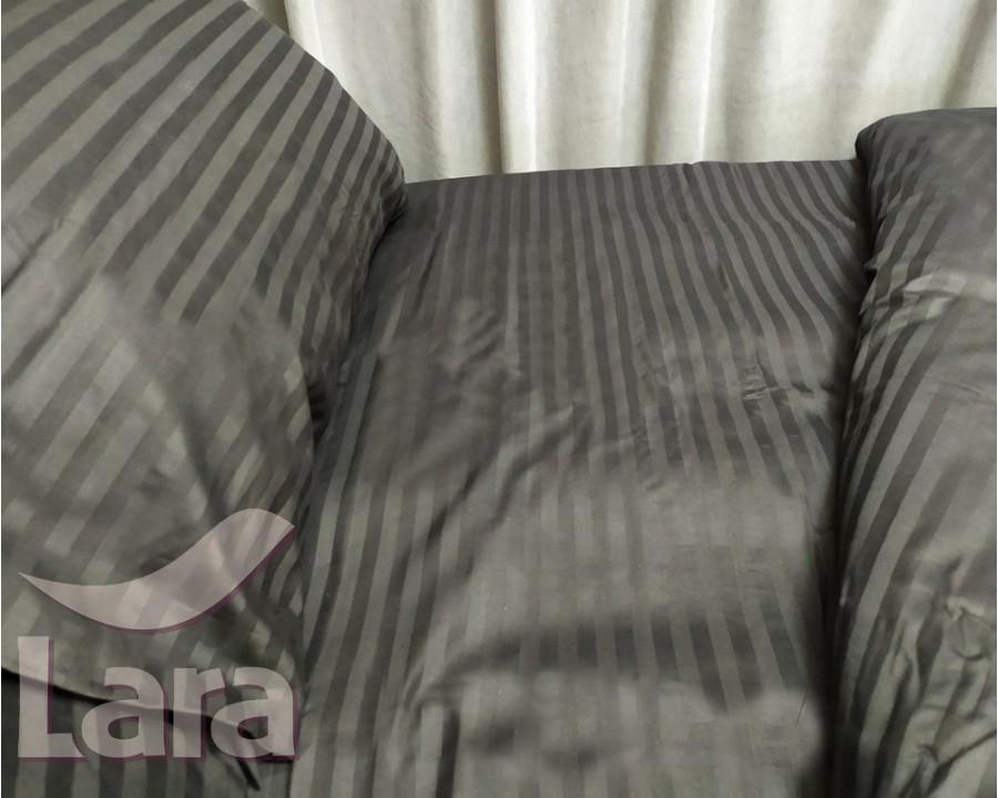 Постільна білизна LARA сатин-страйп чорна d13003p2 полуторна