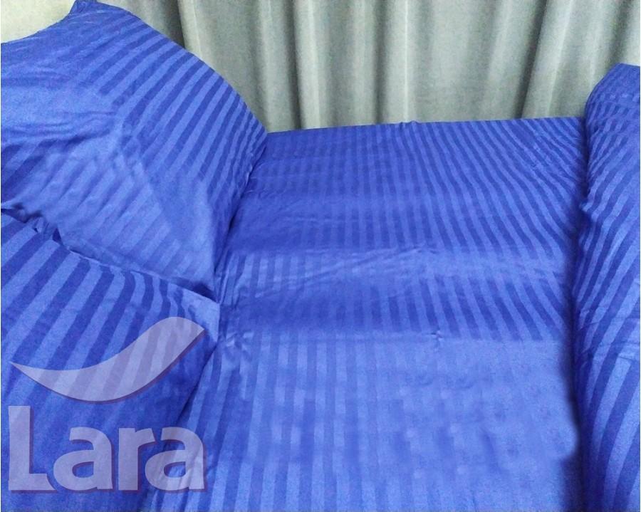 Постільна білизна LARA сатин-страйп Blue d13004p2 полуторна