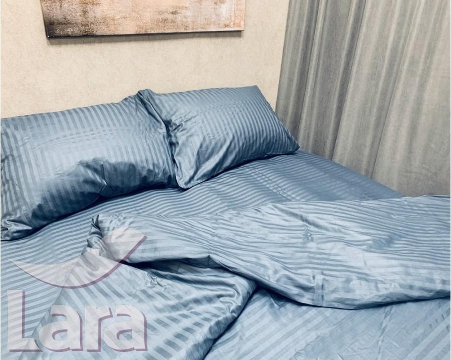 Постельное белье LARA сатин-страйп Graphite d13036s семейное