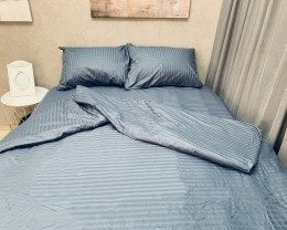 Постельное белье LARA сатин-страйп Graphite d13036d двуспальное