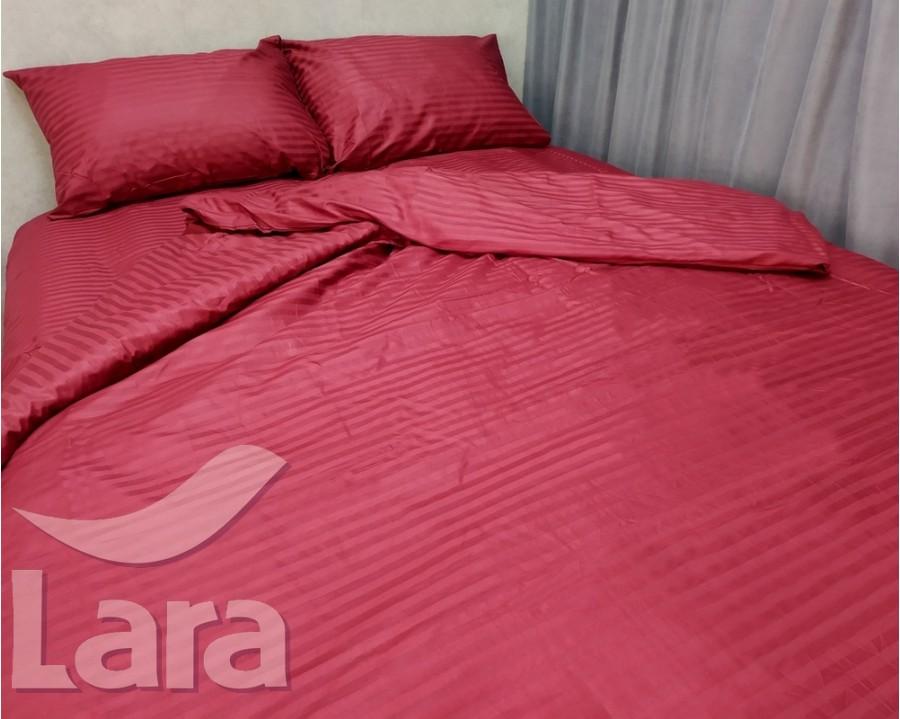 Постільна білизна LARA сатин-страйп Bordo d13035d двоспальна