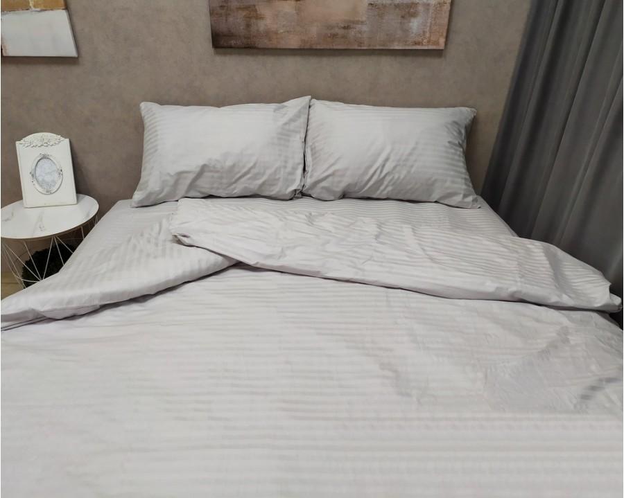 Постельное белье LARA сатин-страйп Light gray d13040e евро