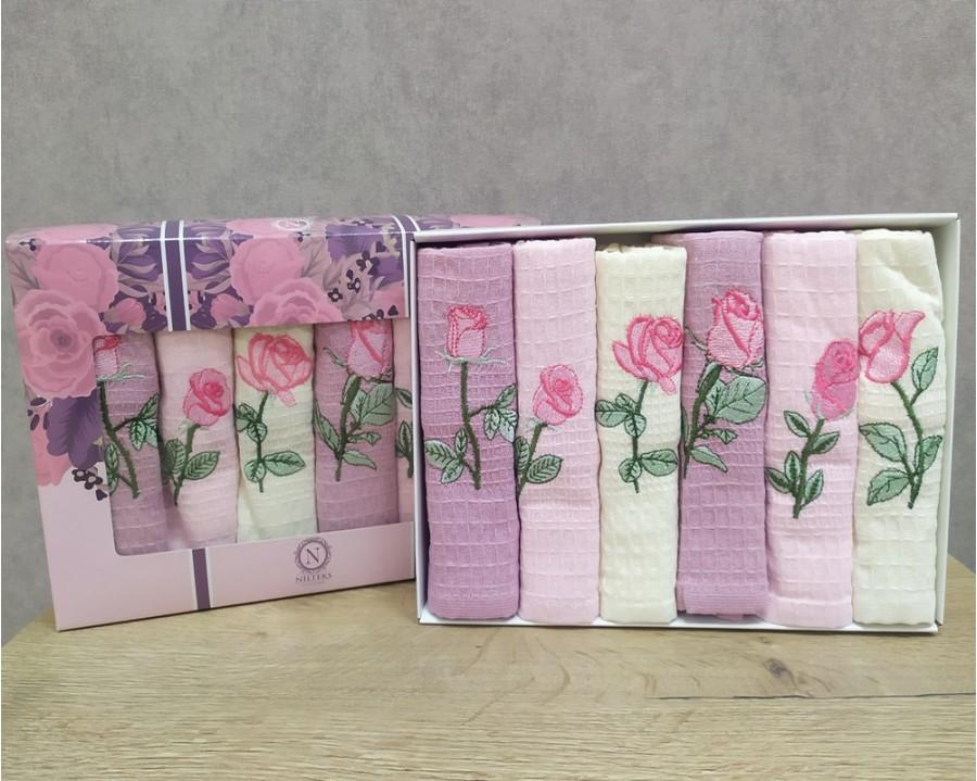 Набор полотенец кухонных Nilteks 6 штук 40x60 вафельные с вышивкой Rose