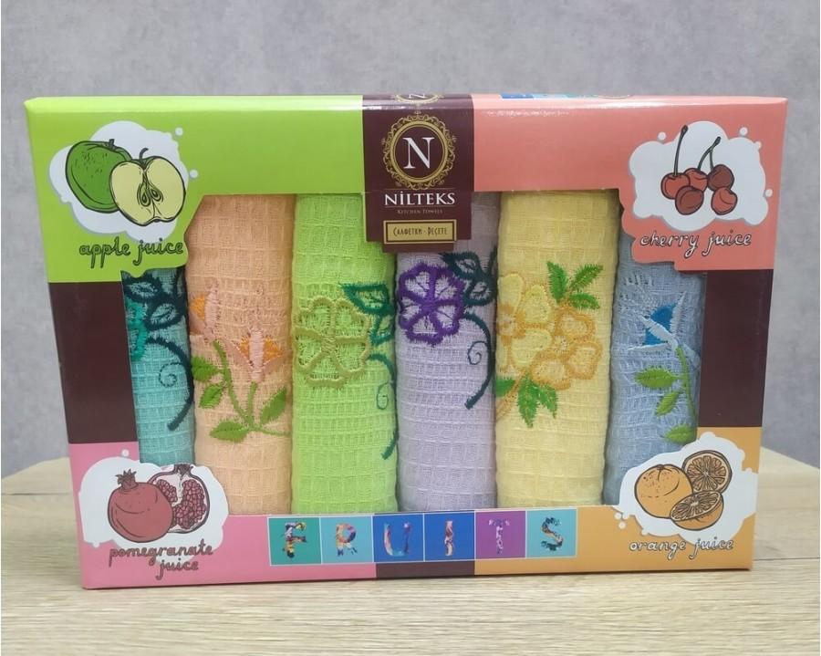 Набор полотенец кухонных Nilteks 6 штук 30х50 вафельные с вышивкой Цветы 1