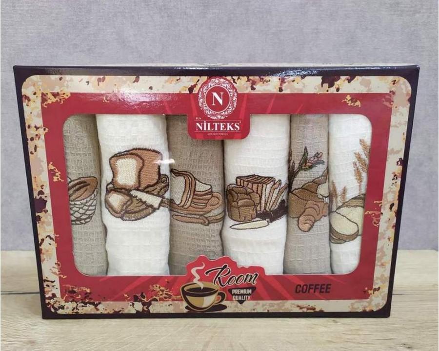Набор полотенец кухонных Nilteks 6 штук 40x60 вафельные с вышивкой Bread