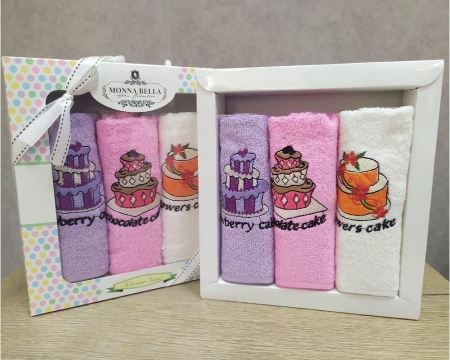 Набор полотенец кухонных 30х50 Monna Bella 3 штуки махровые с вышивкой Торты