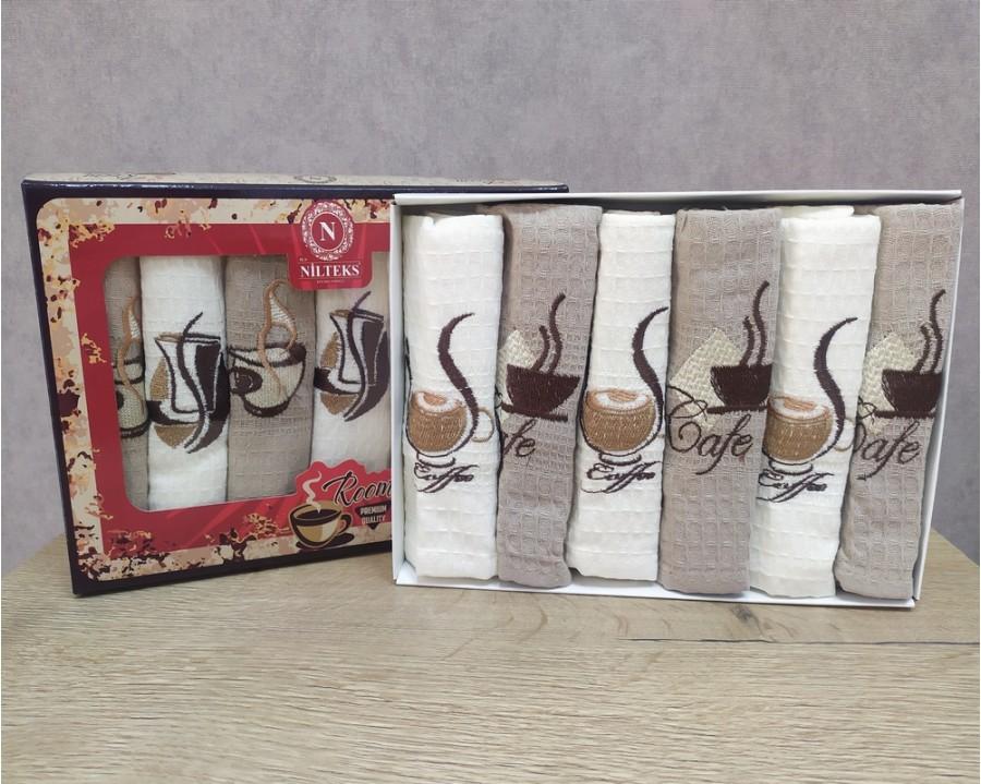 Набор полотенец кухонных Nilteks 6 штук 40x60 вафельные с вышивкой Кофе