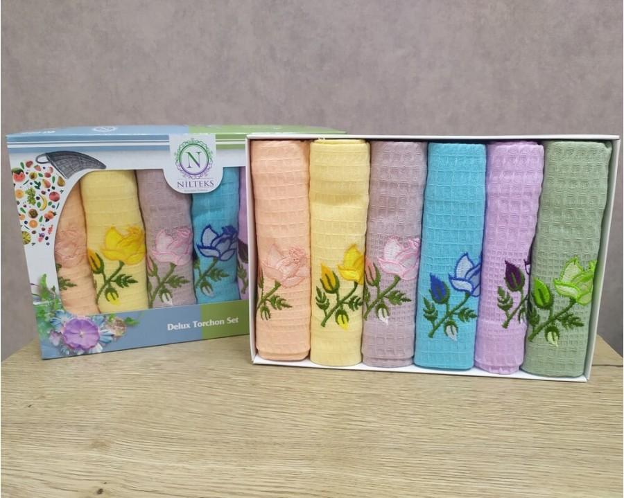 Набор полотенец кухонных Nilteks 6 штук 45x70 вафельные с вышивкой Renkli Цветы 1