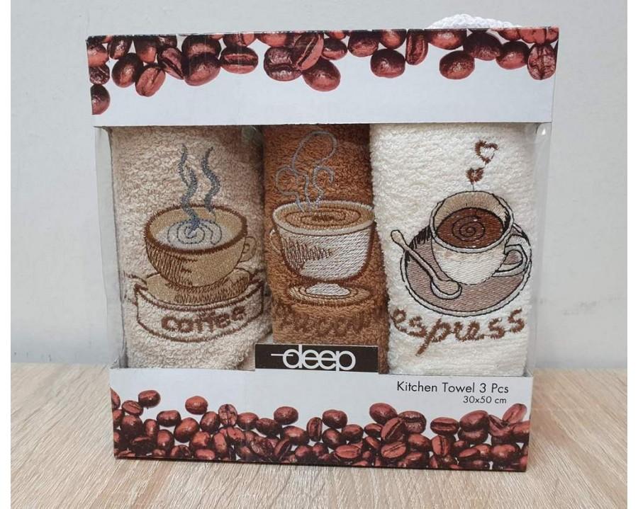 Набор полотенец кухонных Gulcan 3 штуки 30х50 махровые с вышивкой Кофе