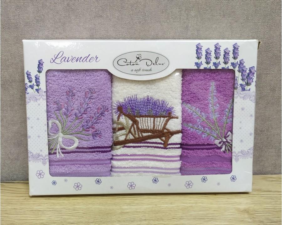 Набор полотенец кухонных 30х50 см Cotton Deluxe 3 штуки махровые с вышивкой Лаванда 1