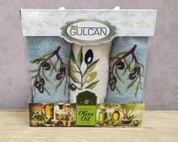 Набор полотенец кухонных Gulcan 3 штуки 30х50 махровые с вышивкой Олива
