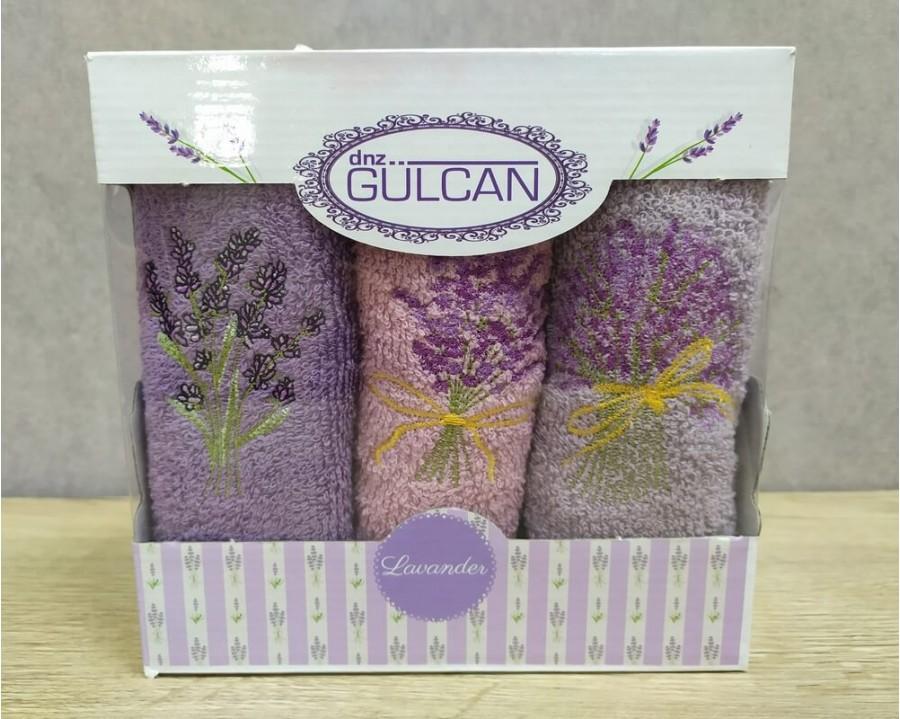 Набор полотенец кухонных Gulcan 3 штуки 30х50 махровые с вышивкой Лаванда