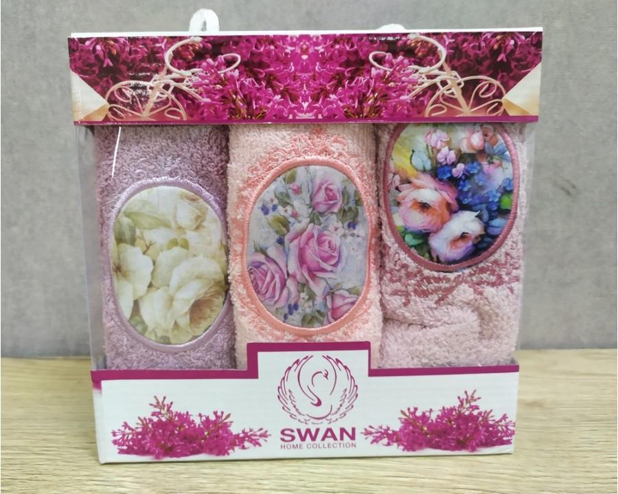 Набор полотенец кухонных Swan 3 штуки 30х50 махровые с вышивкой Париж