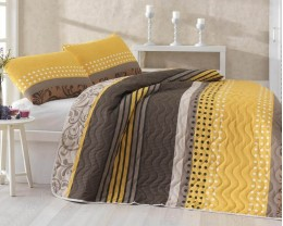 Покрывало стеганое Eponj Home Miranda Sari 200х220 с наволочками 50х70