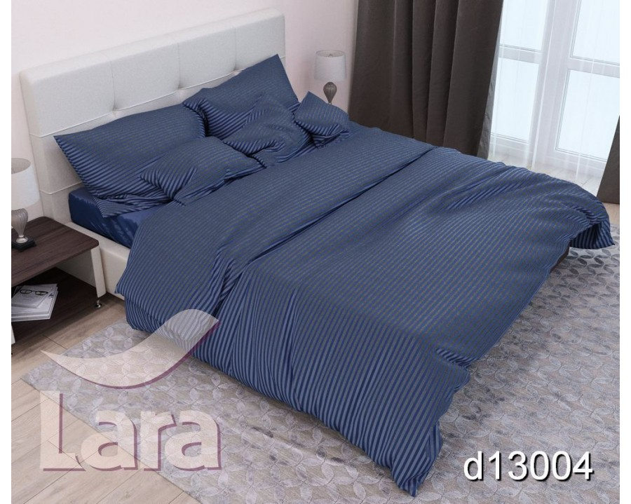 Постельное белье LARA сатин-страйп Blue d13004s2 семейное