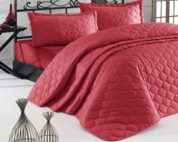 Покрывало стеганое EnLora Home ранфорс Fresh Color Kirmizi 225х240 с наволочками 50х70