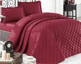 Покрывало стеганое EnLora Home ранфорс Fresh Color Bordo 225х240 с наволочками 50х70