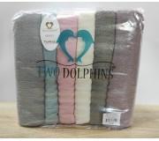 Набор махровых полотенец 70х140 Two Dolphins 6 штук AK5 Likya