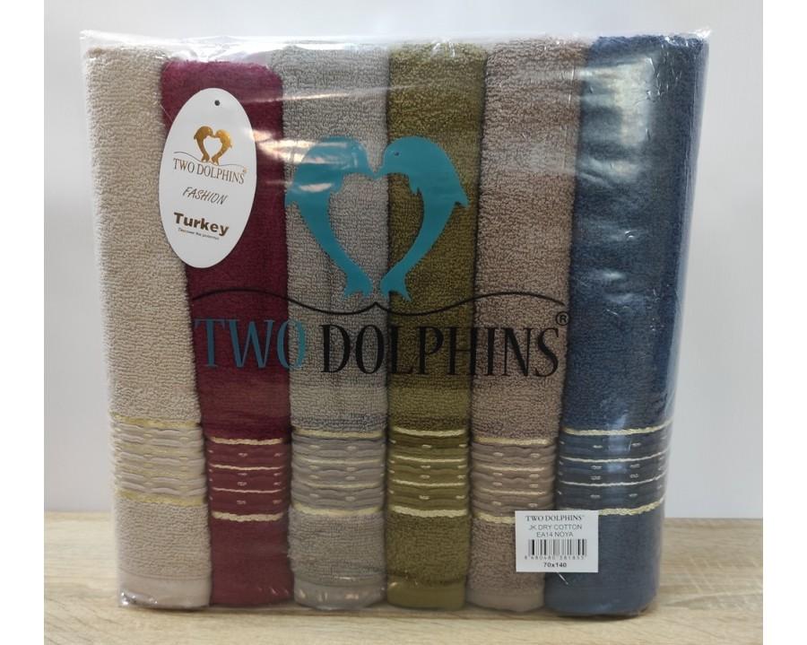Набор махровых полотенец 70х140 Two Dolphins 6 штук EA14 Noya