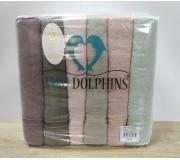 Набор махровых полотенец 70х140 Two Dolphins 6 штук AK45 Verna