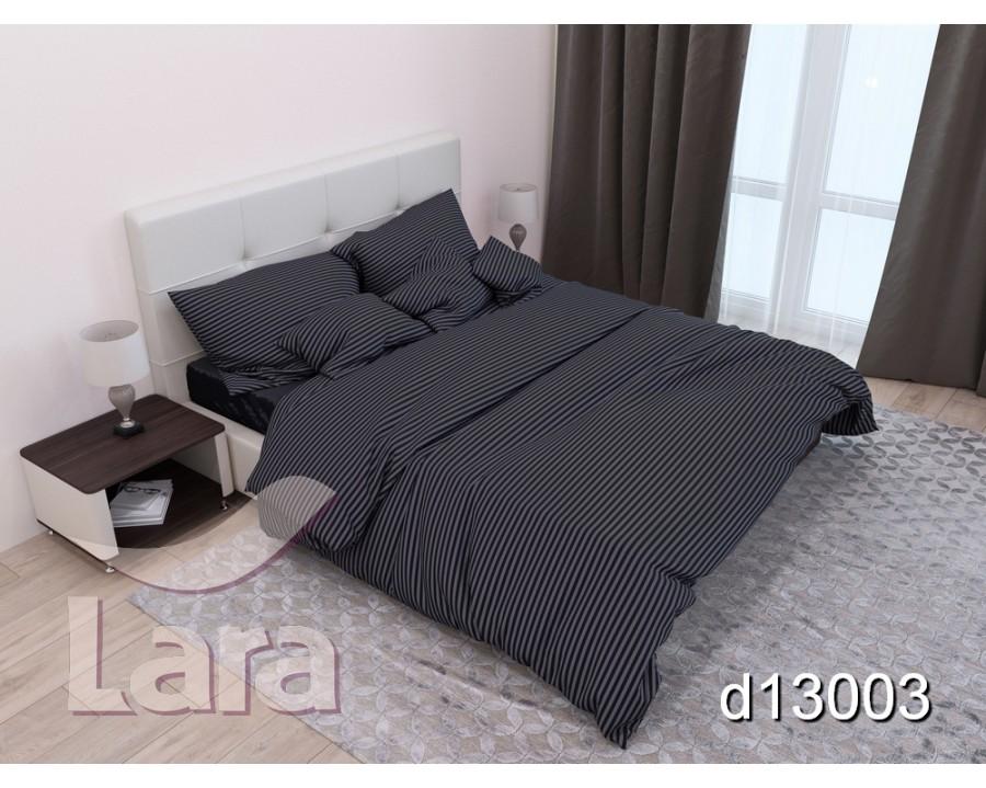 Постельное белье LARA сатин-страйп черное d13003p2 полуторное