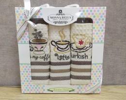 Набор полотенец кухонных 40х60 Monna Bella 3 штуки вафельные с вышивкой Кофе светлый