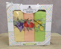 Набор полотенец кухонных 40х60 Monna Bella 3 штуки вафельные с вышивкой Фрукты