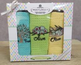 Набор полотенец кухонных 40х60 Monna Bella 3 штуки вафельные с вышивкой Олива