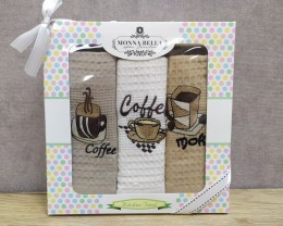 Набор полотенец кухонных 40х60 Monna Bella 3 штуки вафельные с вышивкой Кофе