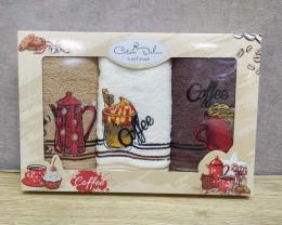 Набор полотенец кухонных 30х50 см Cotton Deluxe 3 штуки махровые с вышивкой Кофе 1