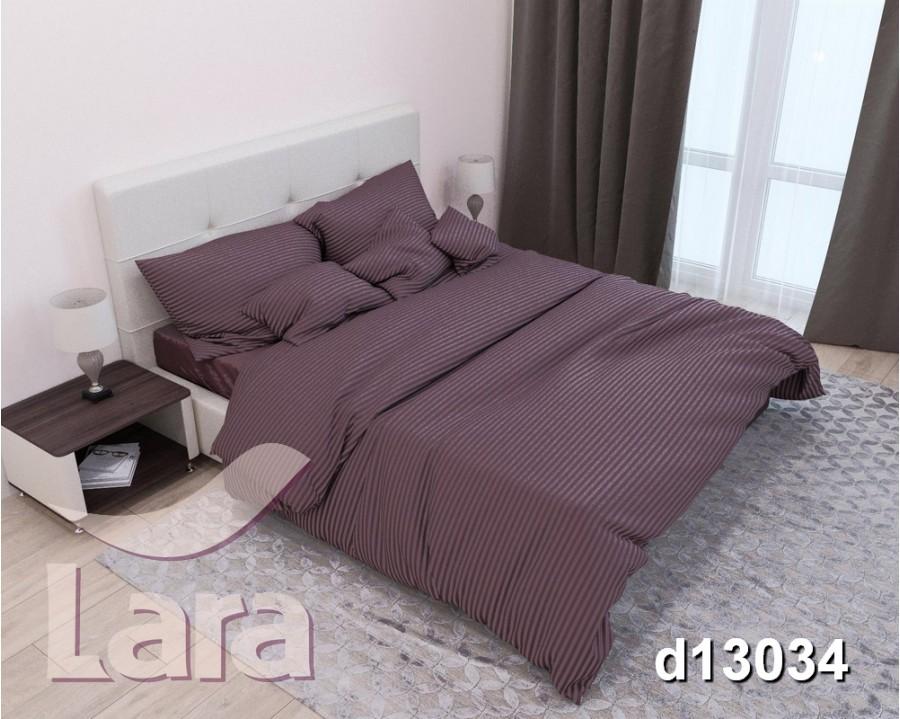 Постельное белье LARA сатин-страйп Brown d13034d2 двуспальное