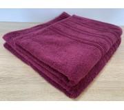 Набор махровых полотенец 50х90+70х140 GM TEXTILE Узбекистан полосы 450 г/м2 вишневый