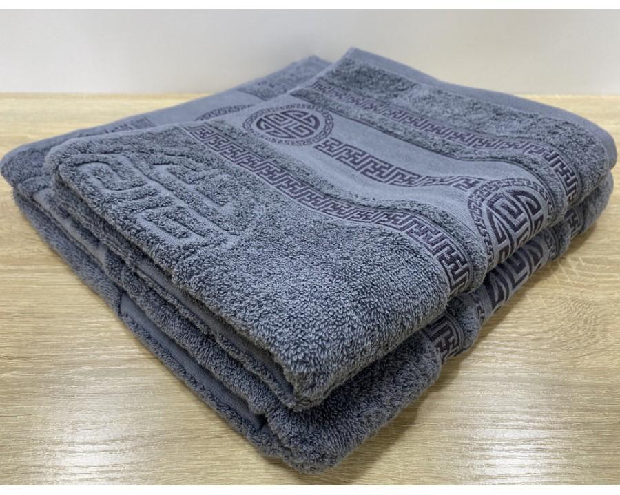 Набор махровых полотенец 50х90+70х140 GM TEXTILE Узбекистан Greek 450 г/м2 серый