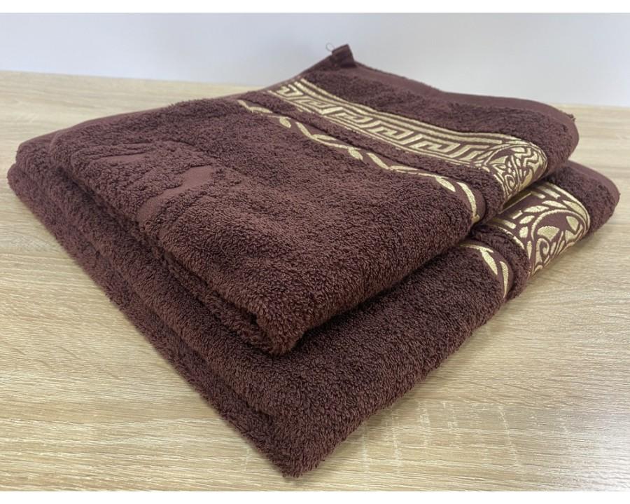Набор махровых полотенец 50х90+70х140 GM TEXTILE Узбекистан Цезарь 450 г/м2 коричневый