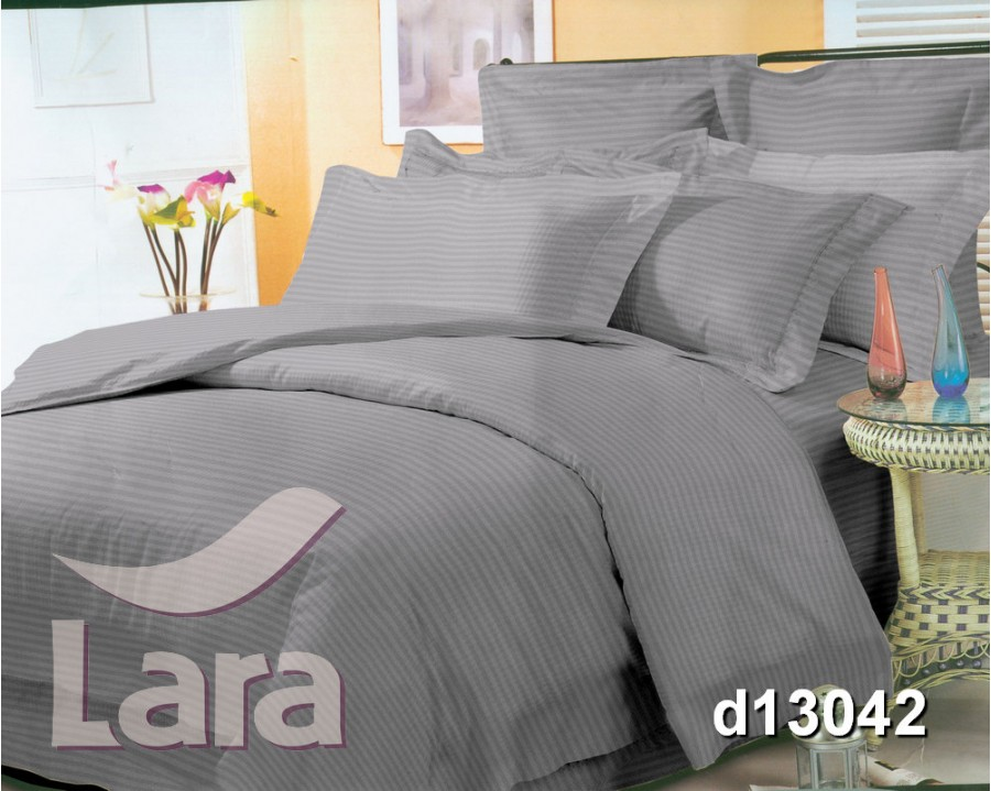 Постельное белье LARA сатин-страйп Gray d13042e2 евро