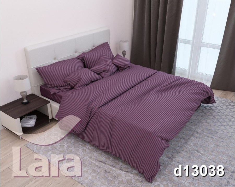Постельное белье LARA сатин-страйп Violet d13038p2 полуторное