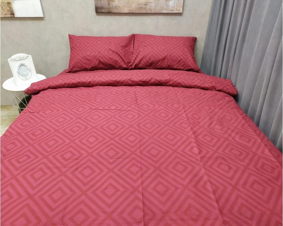 Постільна білизна LARA бязь d11185d Ромб Red двоспальна