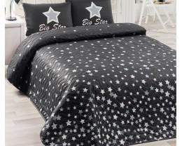 Покрывало стеганое Eponj Home White Star Siyah 160х220 с наволочкой 50х70