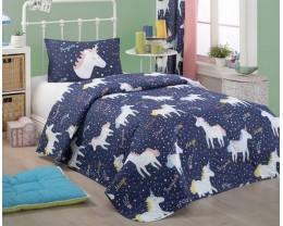 Покрывало стеганое Eponj Home Magic Unicorn Laci 160х220 с наволочкой 50х70