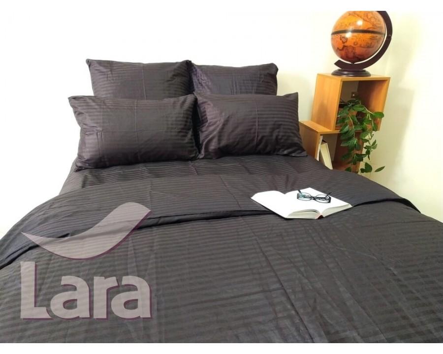 Постельное белье LARA сатин-страйп черное d13003d2 двуспальное