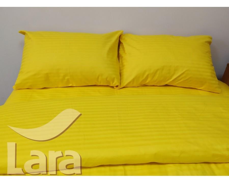Постельное белье LARA сатин-страйп Yellow d13069e евро