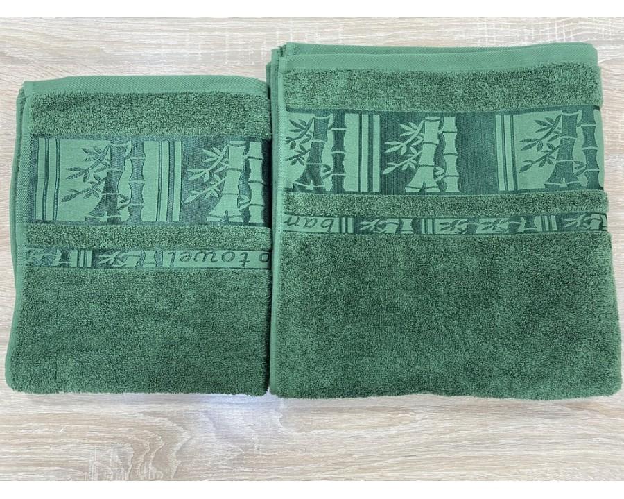 Набор махровых полотенец 50х90+70х140 GM TEXTILE Узбекистан Bamboo new 450 г/м2 зеленый
