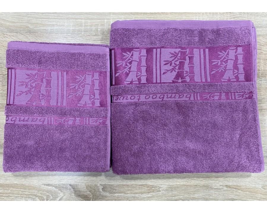 Набор махровых полотенец 50х90+70х140 GM TEXTILE Узбекистан Bamboo new 450 г/м2 пудра